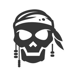 Pirate symbol avatar bold black silhouette icon vector