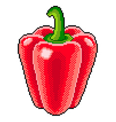 Pixel sweet pepper detailed isolated vector