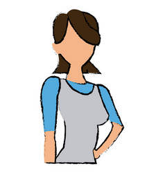 portrait female woman cartoon gesture image vector image