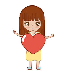pretty girl with heart in the hand and dress vector image