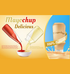 Promotion banner of mayochup sauce vector