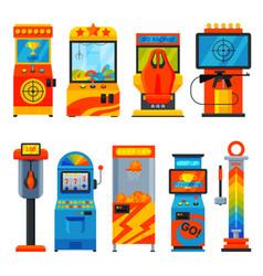 Retro arcade game machines collection amusement vector
