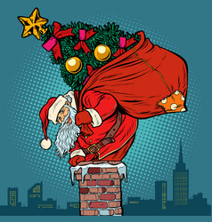 santa claus with a christmas tree in a bag climbs vector image