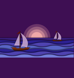sea night landscape with waves sunset and sail vector image
