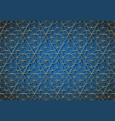 seamless gold flower life symbol blue template vector image