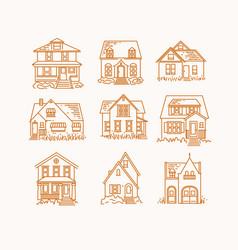 set house flat icons beige vector image