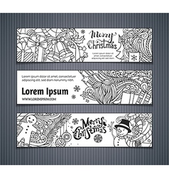 Set of doodles Christmas banners vector