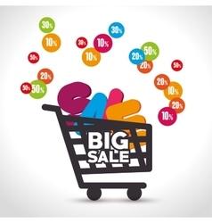 Shopping cart sale offer design vector