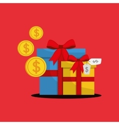 shopping gift box money vector image