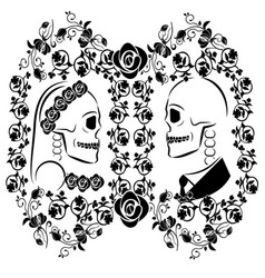 Skulls wedding with flourishes 2 vector