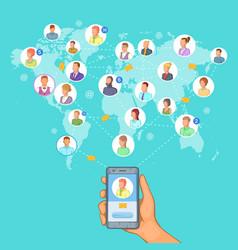 social network concept cellphone cartoon style vector image