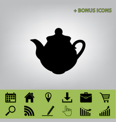 Tea maker kitchen sign black icon at gray vector