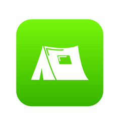 Tourist tent icon green vector
