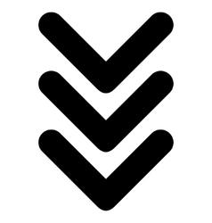 Triple Arrowhead Down Flat Icon vector