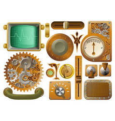 Victorian steampunk design elements vector