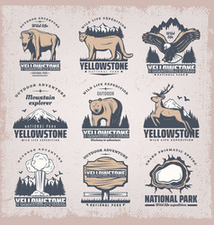 Vintage colored national park emblems set vector