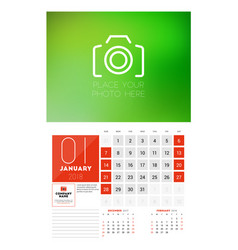 wall calendar template for 2018 year january vector image