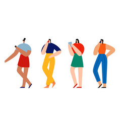 women holding smartphones and talking group vector image