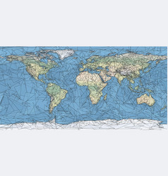 World map artistic low poly triangulated vector
