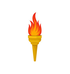 yellow torch with bright red-orange fiery flame vector image