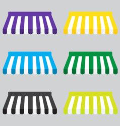 Awning color striped set for store element design vector image