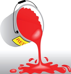 Bucket with red paint vector