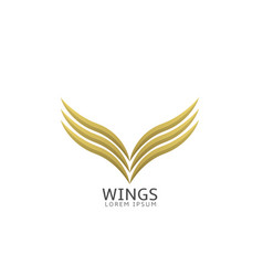 golden wings label vector image