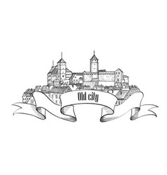 old city sign isolated downtown view medieval vector image vector image