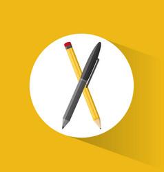 pencil pen utensils school vector image