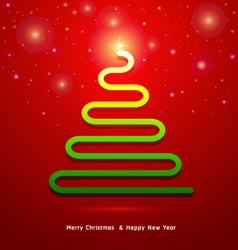 Abstract Christmas tree on red background vector image vector image
