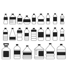 monochrome pictures set of plastic bottles vector image vector image