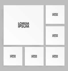 square paper set mock up with shadow vector image vector image
