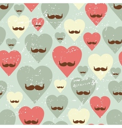 Valentine seamless pattern with heart and mustache vector image vector image