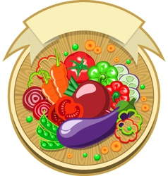 Vegetables sticker with ribbon vector image vector image