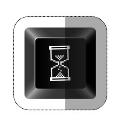 black button hourglass icon vector image