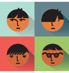 Boys Head Icons With Shadows vector image vector image
