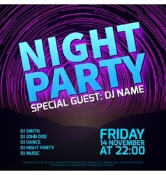 Night party background with star trails and place vector image vector image
