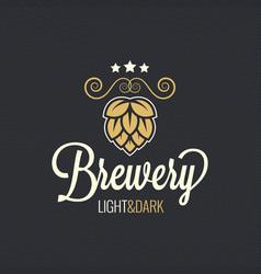 beer label hop vintage design background vector image