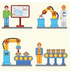 Flat info graphic factory production vector image
