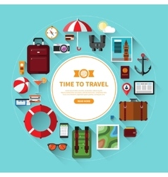 Icon set of traveling tourism vacation planning vector image