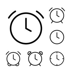 thin line clock alarm icons vector image
