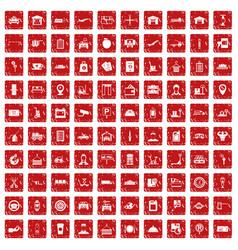 100 loader icons set grunge red vector image