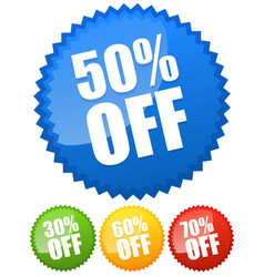 30 50 60 70 percent off price flashes vector image