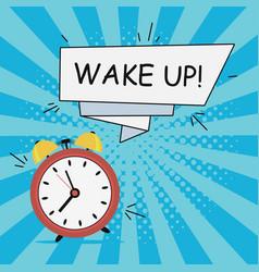 Alarm clock - wake-up speech banner vector