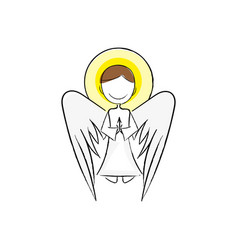 angel wing fly cupid minimalistic vector image