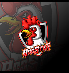 Angry rooster head mascot logo vector