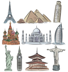 architectural wonders world collection vector image