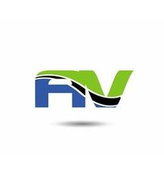 AV company linked letter logo vector