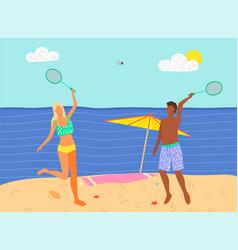 Beach badminton summer sport game man and woman vector