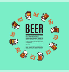 beer in glass mugs thin linear style vector image